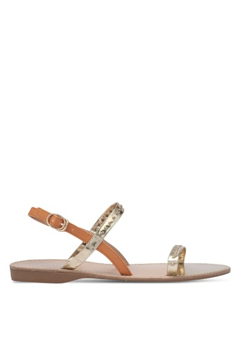 Velvet gold and brown Double Strap Flat Sandals 6F49BSHD3FA33DGS_1