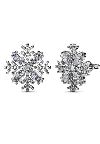 Her Jewellery silver Snow Earrings (White Gold) - Made with premium grade crystals from Austria C8886ACB4FE5A5GS_1