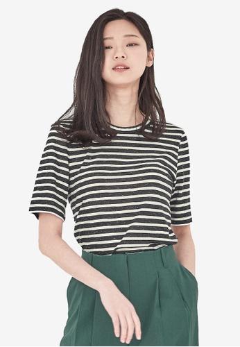 NAIN black Striped Slim Fit Top EC3B4AA188BB36GS_1