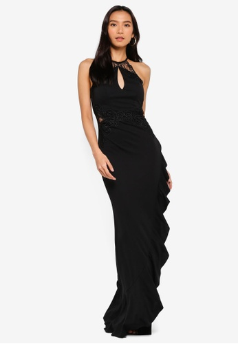 Lipsy black Halterneck Frill Maxi Dress 225B7AA6ECA985GS_1