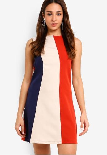 ZALORA multi and navy Colourblock Sleeveless Dress 07ABAAAB9B1948GS_1