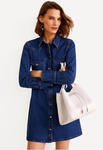 Mango blue Denim Shirt Dress 0F407AA6C352E2GS_1