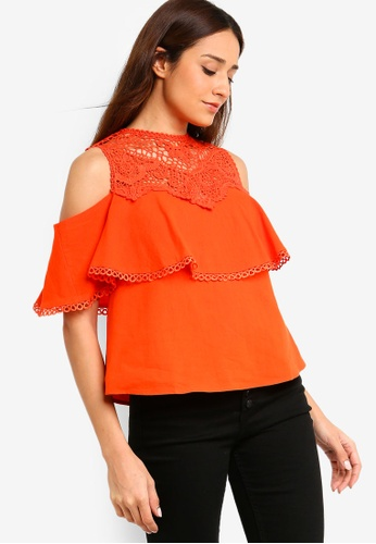 ZALORA orange Cold Shoulder Top with Trims 4E339AAADC8892GS_1