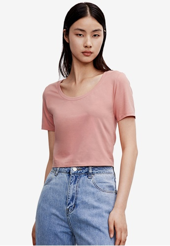 Urban Revivo red Basic Cropped T-Shirt 10F39AAE744304GS_1