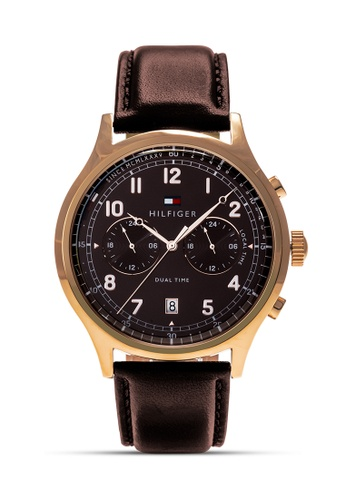 Tommy Hilfiger Watches white and brown and gold Men's Leather Strap Watch TO959AC0KUDTPH_1