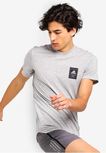 adidas 灰色 混色短袖品牌刺繡T恤 1EF36AA484AF4EGS_1