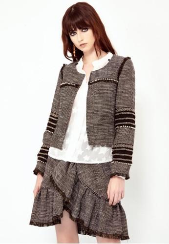 毛esprit outlet 桃園呢串珠軍外套, 服飾, 夾克 & 大衣