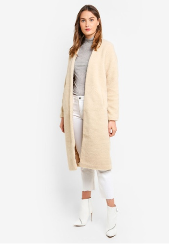 MISSGUIDED beige Collarless Teddy Coat C2D04AA1525BD7GS_1