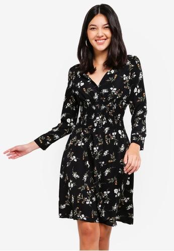 ZALORA black Button Down Smocking Dress 42236AABBF184FGS_1