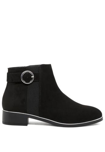 London Rag 黑色 扣带金边短靴 SH1759 938D1SH7DEFFFBGS_1
