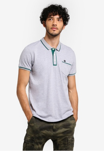 JAXON grey Polo With Outline Detail 5B3B9AAB2F99BEGS_1