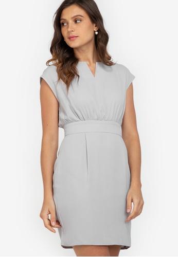 ZALORA WORK grey Notch Neck Fitted Waist Dress 91092AA40E9F77GS_1