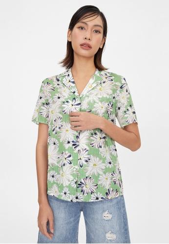 Pomelo green Bold Daisy Print Button Up Shirt - Green 6ECB8AABEFB1FCGS_1