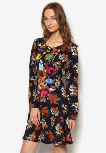 esprit 內衣印花長袖洋裝, 服飾, 洋裝