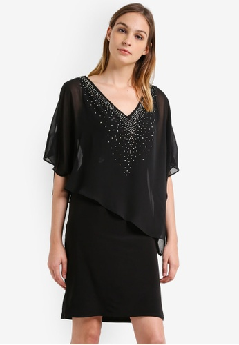 Wallis black Black Hotfix Vneck Overlayer Dress WA800AA0RU8WMY_1
