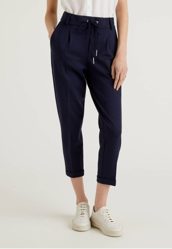 United Colors of Benetton navy Trousers with Drawstring and Cuff BAB8CAAD9CC89AGS_1