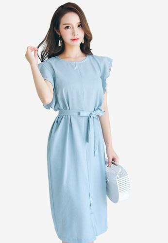 Shopsfashion blue Ruffles Midi Dress 812C2AA9AC9FB6GS_1