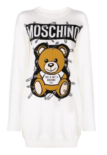 MOSCHINO white MOSCHINO SAFETY PIN TEDDY BEAR SWEATSHIRT DRESS 3A8BCAA282F59DGS_1