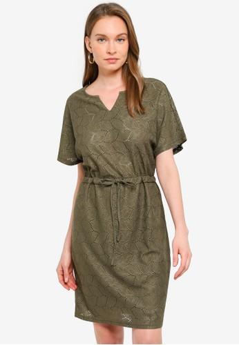 JACQUELINE DE YONG green Tag Short Sleeve Belt Dress 51966AA80FF640GS_1