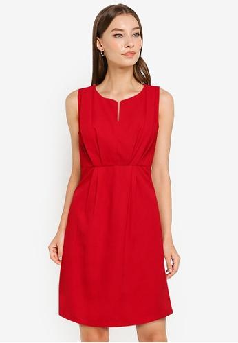 ZALORA WORK red Pleat Front Dress 3D0C1AA969D552GS_1