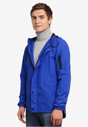 River Island blue Hooded Lightweight Jacket RI009AA0RU9UMY_1