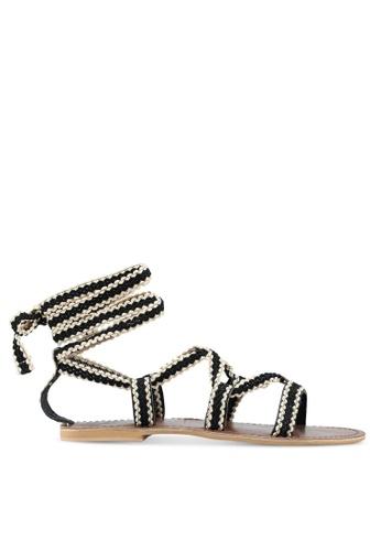 TOPSHOP black Hacienda Velvet Ribbon Sandals 2609DSH1F94D81GS_1