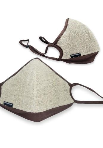 Metamask beige Linen Natural - Masker Stylish Dengan Replaceable Filter 4A6B7ES6208004GS_1