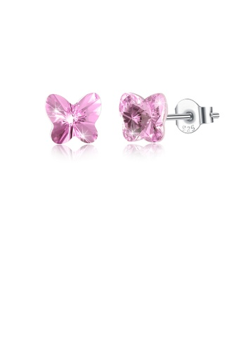 Glamorousky pink 925 Sterling Silve Elegant Noble Romantic Sweet Butterfly Earrings with Pink Austrian Element Crystal 1EBF1AC9988AC1GS_1