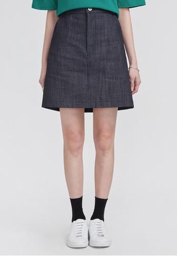 A字布邊牛仔短裙, 服飾esprit bag, 裙子