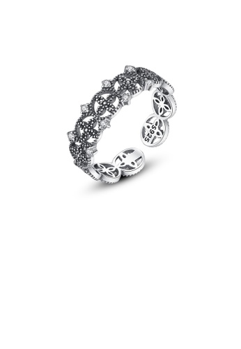 Glamorousky silver 925 Sterling Silver Fashion Vintage Hollow Flower Adjustable Open Ring DCB30ACF6090FBGS_1