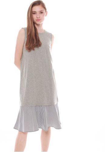 JOVET grey Fluted Hem Dress 927DFAA9846DA4GS_1