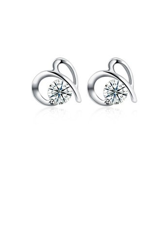 Glamorousky white 925 Sterling Silver Simple Mini Elegant Hollow Out Ear Studs and Earrings with Cubic Zircon AC5C7AC3DB501FGS_1