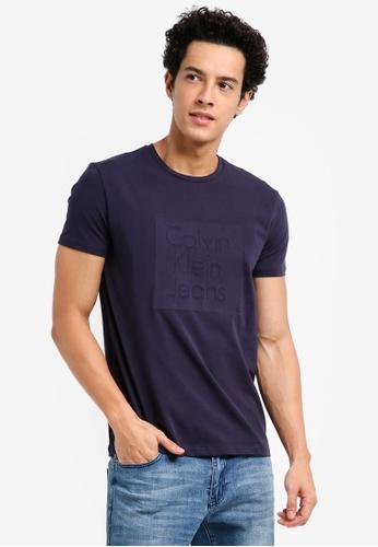Calvin Klein navy CKJ Box Logo Crew Neck T-Shirt - Calvin Klein Jeans FECCFAA4D5226BGS_1