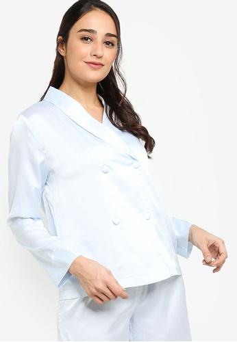 ZALORA BASICS 藍色 Lounge Satin Long Sleeve Shirt B3567AA12252D3GS_1