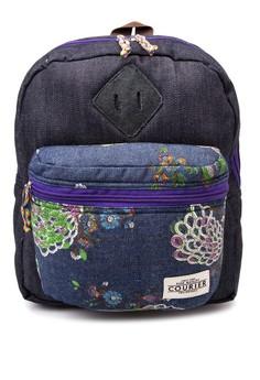Denim Peacock Mini Backpack