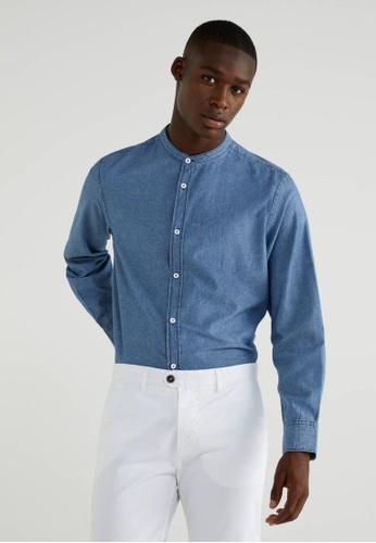 United Colors of Benetton blue Mandarin Collar Shirt 6BA67AA65DD8A9GS_1
