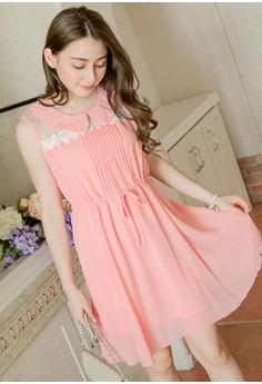 [IMPORTED] Charm Away Embellished Chiffon Dress - Pink