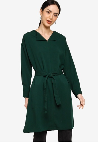 ZALIA BASICS green Notch Neck Tunic Top 4768DAA8E1B7D2GS_1