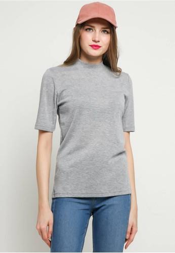 BLYTHÉ grey Basic High Neck T-Shirt 03CBFAAD4C9DACGS_1
