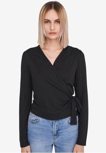 Noisy May black Harriston Long Sleeves V-neck Knit Top ADB65AA22E0258GS_1