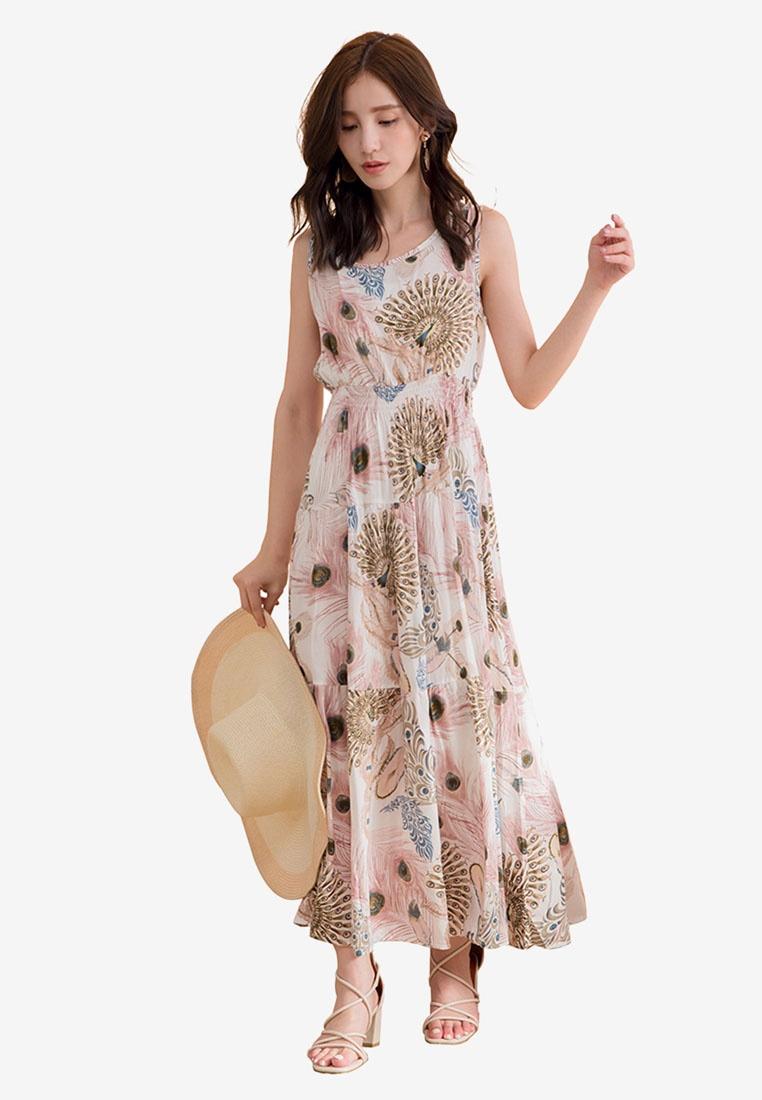 Feather Feather Sleeveless Dress White Sleeveless Dress Tokichoi Tokichoi White Feather f5674qFnwq