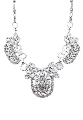 Red's Revenge white Art Deco Gemstones Bib Necklace 804BCAC2E81C46GS_1
