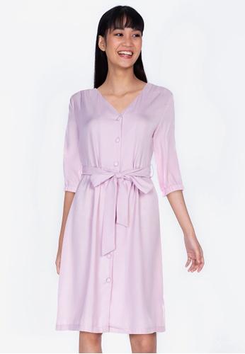ZALORA BASICS pink Puff Sleeves Knee Length Dress 52321AA099F268GS_1