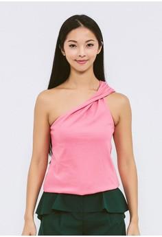 【ZALORA】 有機棉紅莓色斜肩上衣