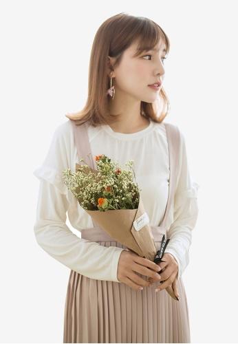 Tokichoi white Ruffled Detail Sleeves Top 8F713AA1E267E3GS_1