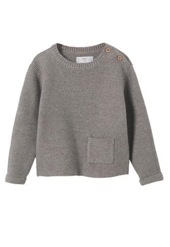 MANGO BABY grey Knit Pocket Sweater 98163KADE1818FGS_1