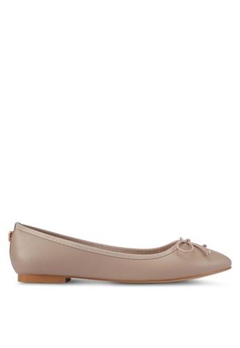 Velvet beige Bow Ballerinas 0B4BESHAFCFFE1GS_1