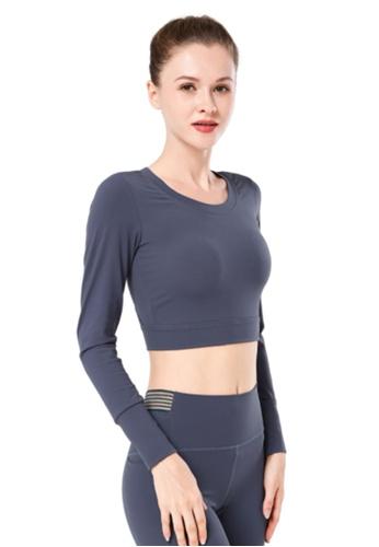 B-Code grey ZYG3039-Lady Quick Drying Running Fitness Yoga Sports Top -Grey 0F7B7AA4087CB5GS_1