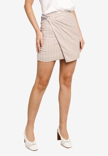 Hopeshow beige Front Overlap Striped Linen Mini Skirt B477AAA1244567GS_1