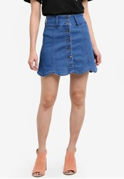 Something Borrowed blue Scallop Hem Denim Mini Skirt 1774FZZ4C65184GS_1